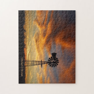 Golden Sky with Windmill Silhouette PUZZLE