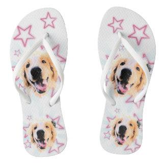 Golden slipper flip flops