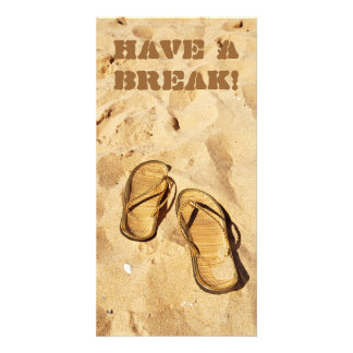 golden slippers on the beach photo card template