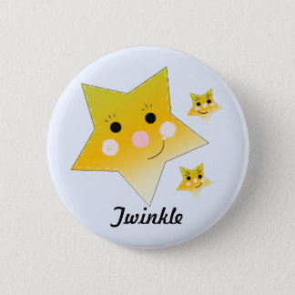 Golden Smiley Stars - Twinkle 2 Inch Round Button