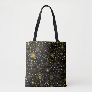 Golden Snowflake Pattern All-Over-Print Tote Bag
