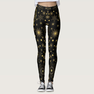 Golden Snowflake Pattern Leggings