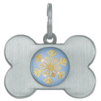 Golden Snowflake Pet Name Tag