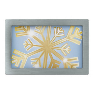 Golden Snowflake Rectangular Belt Buckle