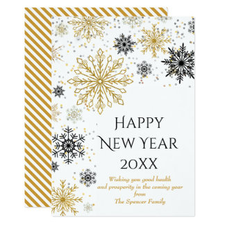 Golden Snowflake Winter New Years Card