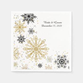 Golden Snowflake Winter Wedding Paper Napkin