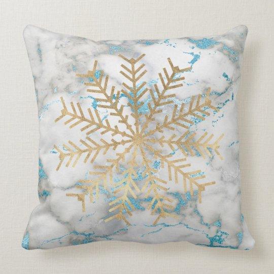 Golden Snowflakes Blue Grey Marble Holidays Vip Throw Pillow