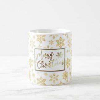 Golden Snowflakes Christmas Mug