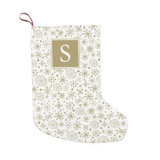 Golden Snowflakes Monogram Stocking