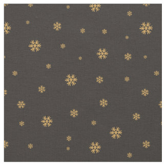 Golden snowflakes on black pattern - Xmas Fabric