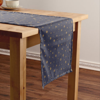 Golden snowflakes on midnight blue - Christmas Short Table Runner