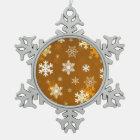 Golden Snowflakes Snowflake Pewter Christmas Ornament