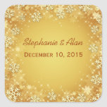 Golden Snowflakes Wedding Stickers