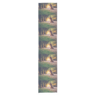 Golden Spaniel dog panting in the sun on path Short Table Runner