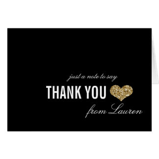 Golden Sparkle Sweet 16 Thank You Card