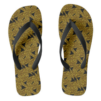 Golden sparkly abstract pattern flip flops