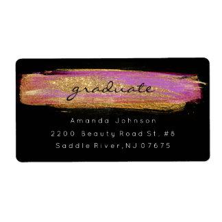 Golden Sparkly Glitter Purple Pink Brush Stroke Shipping Label