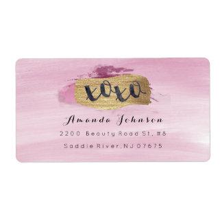 Golden Sparkly XOXO Pink Blush Watercolor Stroke