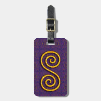 Golden Spiral Luggage Tag w/ leather strap