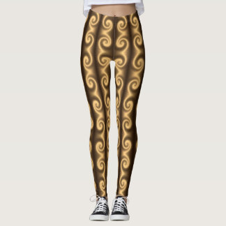 Golden spiral texture leggings