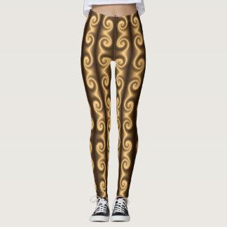 Golden spiral texture leggings
