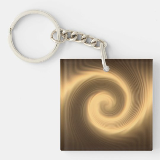 Golden spiral texture Single-Sided square acrylic keychain