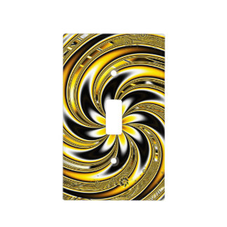 Golden Spiraling Flower Light Switch Cover