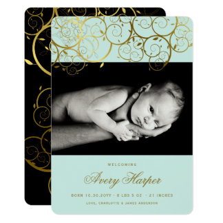 Golden Spirals Baby Boy Photo Birth Announcement