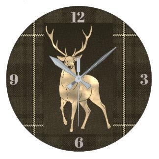 Golden Stag Plaid Large Clock