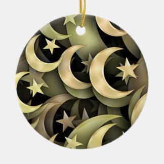 Golden Star and Crescent Ceramic Ornament