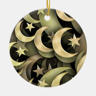 Golden Star and Crescent Round Ceramic Ornament