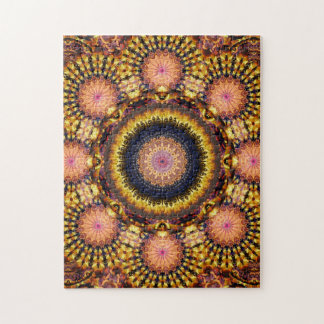 Golden Star Burst Mandala Jigsaw Puzzle
