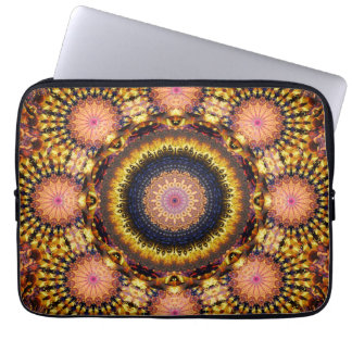Golden Star Burst Mandala Laptop Sleeve