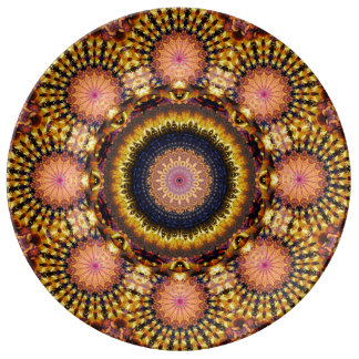 Golden Star Burst Mandala Plate