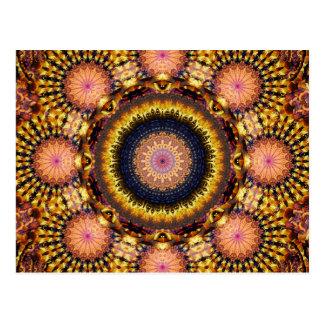 Golden Star Burst Mandala Postcard