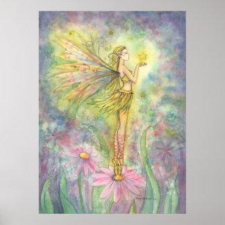 Golden Star Flower Fairy Poster