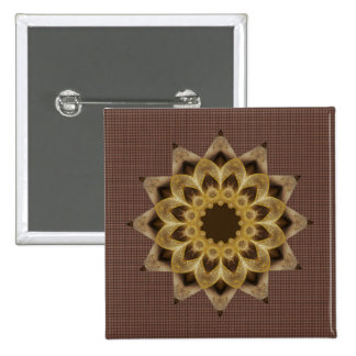 Golden Star Mandala 2 Inch Square Button