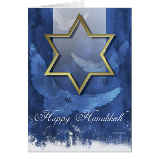 Golden Star of David-Hanukkah Card