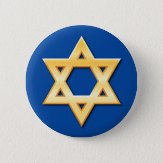 Golden star of David on blue background button