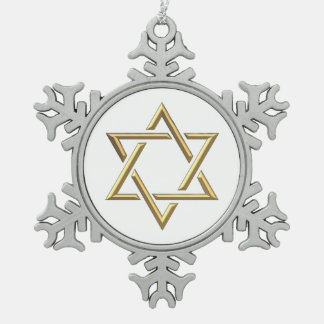 Golden Star of David Snowflake Pewter Christmas Ornament