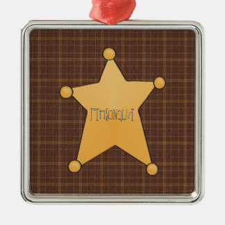 Golden Star Sheriff's Badge Metal Ornament