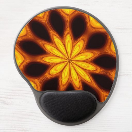 Golden starburst on black gel mousepad