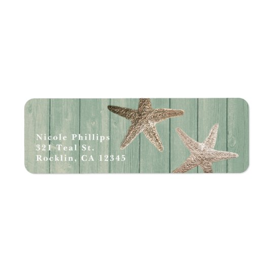 Golden Starfish & Wood Elegant Beach Invitation