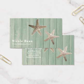 Golden Starfish & Wood Elegant Beach Tropical Chic Business Card