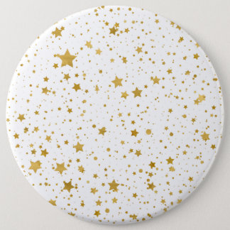 Golden Stars2 -Pure White- 6 Inch Round Button