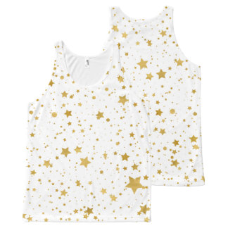 Golden Stars2 -Pure White- All-Over-Print Tank Top