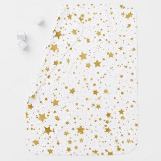 Golden Stars2 -Pure White- Baby Blanket