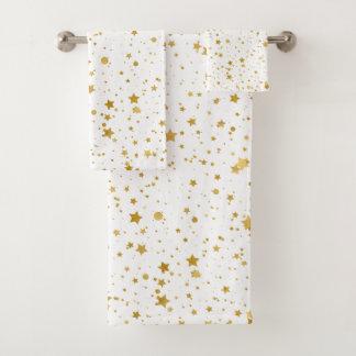 Golden Stars2 -Pure White- Bath Towel Set