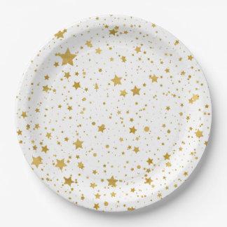 Golden Stars2 -Pure White- Paper Plate