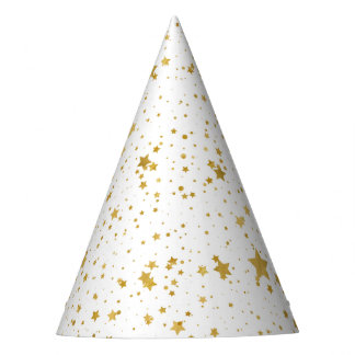 Golden Stars2 -Pure White- Party Hat